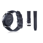 Carbon Fiber Texture Top-grain Leather Wrist Watch Band for Samsung Gear S3 22mm(Black)