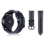 Top-grain Leather Wrist Watch Band for Samsung Gear S3 22mm (Black)