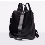 Fashion PU+ Suede School Backpack Casual Handbag Shoulder Bag(Black)