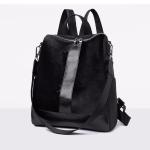 Fashion PU+ Suede School Backpack Casual Handbag Shoulder Bag(Black)