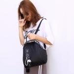 Fashion Nylon School Backpack Casual Handbag Shoulder Bag(Black)