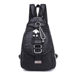Fashion PU School Backpack Casual Handbag Shoulder Bag(Black)