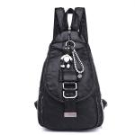 Fashion PU School Backpack Casual Handbag Shoulder Bag(Black)