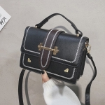 Fashion PU Leather Small Square Handbag Ladies Shoulder Messenger Bag (Black)