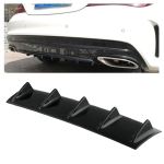 Universal Car Rear Bumper Lip Diffuser 5 Shark Fin Style Black ABS, Size: 58.4 x 53.3 x 15.2cm