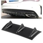 Universal Car Rear Bumper Lip Diffuser 3 Shark Fin Style Carbon Fiber ABS, Size: 35.5 x 30.5 x 15.2cm