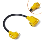 125V 30A Male to 50A Female Plug RV Boat Marine Adapter, Cable Length: 60cm