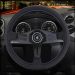 Metal + Leather Car Modified Racing Sport Horn Button Steering Wheel, Diameter: 35cm (Black)