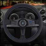 Metal + Leather Car Modified Racing Sport Horn Button Steering Wheel, Diameter: 35cm (Black)