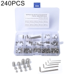 240 PCS Car 304 Stainless Steel Concave Head Hexagon Socket Screws Assortment Kit with Wrench