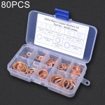 80 PCS O Shape Solid Copper Crush Washers Assorted Oil Seal Flat Ring Kit for Car / Boat  / Generators