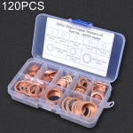 120 PCS O Shape Solid Copper Crush Washers Assorted Oil Seal Flat Ring Kit for Car / Boat  / Generators