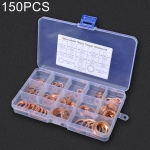 150 PCS O Shape Solid Copper Crush Washers Assorted Oil Seal Flat Ring Kit for Car / Boat  / Generators