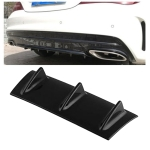 Universal Car Rear Bumper Lip Diffuser 3 Shark Fin Style Black ABS, Size: 35.5 x 30.5 x 15.2cm