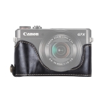 1/4 inch Thread PU Leather Camera Half Case Base for Canon G7 X Mark II (Black)
