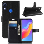 Litchi Texture Horizontal Flip Leather Case for Huawei Honor 8A, with Wallet & Holder & Card Slots (Black)