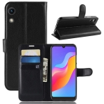 Litchi Texture Horizontal Flip Leather Case for Huawei Honor Play 8A, with Wallet & Holder & Card Slots (Black)