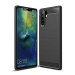 Brushed Texture Carbon Fiber Shockproof TPU Case for Huawei P30 Pro (Black)