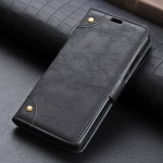 Copper Buckle Retro Crazy Horse Texture Horizontal Flip Leather Case for Huawei Y7 (2019), with Holder & Card Slots & Wallet (Black)