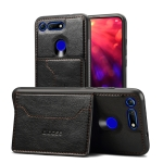 Dibase TPU + PC + PU Crazy Horse Texture Protective Case for Huawei Honor View 20, with Holder & Card Slots (Black)