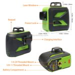 603CR 3 ×360° 2600mA Laser Level Meter Covering Walls and Floors Red Beam IP54 Water / Dust proof(Red)