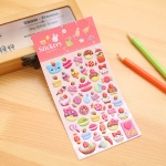 2 PCS Cakes Pattern Creative Cartoon Children DIY Album Diary Decorative Stereo Bubble Sticker