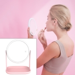 RK36 Multi-function Touch Switch Retractable Makeup Mirror Desk Lamp (Pink)