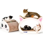 2 in 1 Large Ox-eyed Cathead Corrugated Paper Cat Scratch Board Cat Grinding Claw Toy with Bell