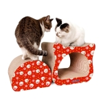 2 in 1 Celebration Cathead Corrugated Paper Cat Scratch Board Cat Grinding Claw Toy