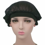 Coconut Nightcap Air Conditioning Cap Long Hair Cap Wide Band Satin Bonnet (Black)