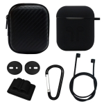 6 in 1 Earphone Bag + Earphone Case + Earphones Silicone Buckle + Earbuds + Anti-Drops Buckle + Anti-lost Rope Wireless Earphone Silicone Case Set for Apple Airpods (Black)