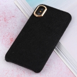 Plush Cloth Cover Protective Back Case for iPhone XS Max (Black)