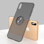 Ultra-thin TPU Protective Case for iPhone XS, with Metal Ring Holder (Black)