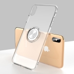 Ultra-thin TPU Protective Case for iPhone XS, with Metal Ring Holder(Transparent)