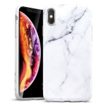 ESR Marble-Glass Series PET+TPU Protective Case for iPhone XS / X (White)