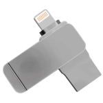 S28 2 in 1 64GB Metal Twister USB 3.0 + 8 Pin Flash Disk(Grey)