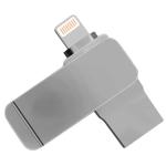 S28 2 in 1 128GB Metal Twister USB 3.0 + 8 Pin Flash Disk(Grey)