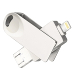 S29 3 in 1 8GB Mirco USB 3.0 + USB-C / Type-C + 8 Pin Interface Metal Twister Flash Disk(Silver)