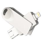 S29 3 in 1 16GB Mirco USB 3.0 + USB-C / Type-C + 8 Pin Interface Metal Twister Flash Disk(Silver)