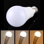 E27 7W 250-600LM Intelligent LED Bulb Energy Saving Light with Three Color Temperature, AC 85-265V