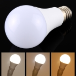 E27 9W 425-800LM Intelligent LED Bulb Energy Saving Light with Three Color Temperature, AC 85-265V