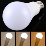 E27 7W 250-600LM Intelligent LED Bulb Energy Saving Light with Three Color Temperature, AC 85-250V