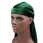Velvet Turban Cap Long-tailed Pirate Hat Chemotherapy Cap (Army Green)