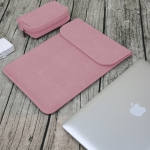 2 in 1 Matte Leather Laptop Inner Bag + Power Bag for MacBook Pro 15.4 inch A1707 (2016 – 2017) (Pink)