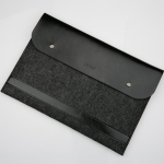 Horizontal Laptop Microfiber Leather Polyester Felt Double Magnetic Buckle Inner Bag for MacBook Air 11.6 inch(Black)