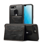Dibase TPU + PC + PU Crazy Horse Texture Protective Case for OPPO A7, with Holder & Card Slots (Black)