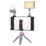 PULUZ Live Broadcast Smartphone Cage Video Rig Filmmaking Recording Handle Stabilizer Bracket for iPhone, Galaxy, Huawei, Xiaomi, HTC, LG, Google, and Other Smartphones