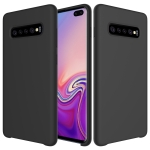 Shockproof Solid Color Liquid Silicone Case for Galaxy S10+ (Black)