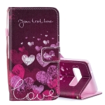 Letter and Heart Pattern Horizontal Flip Leather Case for Galaxy S10, with Holder & Card Slots & Wallet