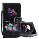 Colored Butterfly Pattern Horizontal Flip Leather Case for Galaxy S10, with Holder & Card Slots & Wallet